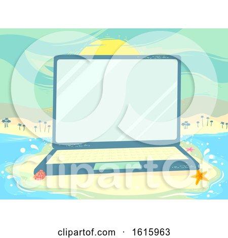 Laptop Beach Scene Study Illustration by BNP Design Studio