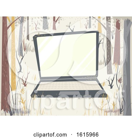 Laptop Woodland Scene Study Illustration by BNP Design Studio