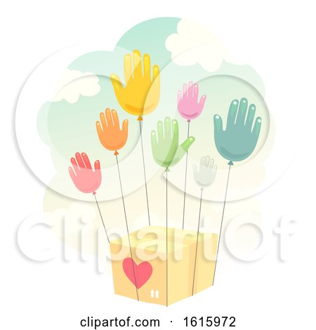 Donate Hands Balloon Give Box Illustration by BNP Design Studio