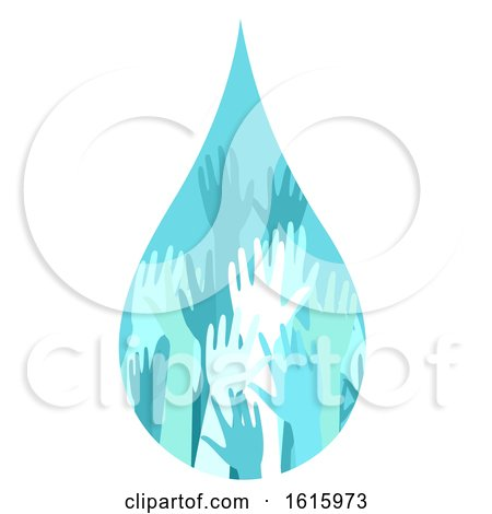 Donation Water Drop Hands Illustration by BNP Design Studio