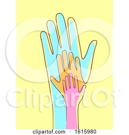 Hands Connected Line Illustration by BNP Design Studio