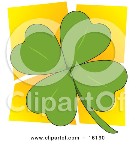 Green Four Leaved Clover Over A Yellow Background, A Popular Symbol For Luck And For St Paddy's Or Saint Patrick's Day Clipart Illustration Image by Maria Bell