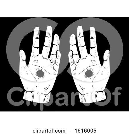 Hand Stigmata Hole Illustration by BNP Design Studio