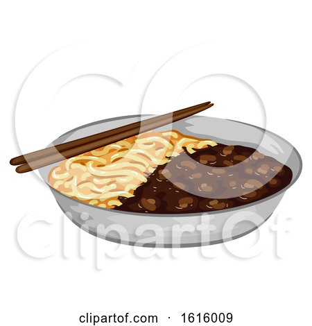 Korean Food Jajangmyeon Illustration by BNP Design Studio