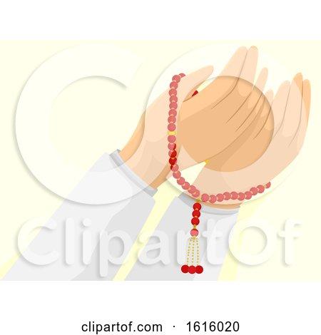 Hands Misbaha Muslim Pray Illustration by BNP Design Studio