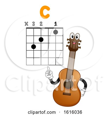 Mascot Guitar Teach Basic Chord Illustration by BNP Design Studio