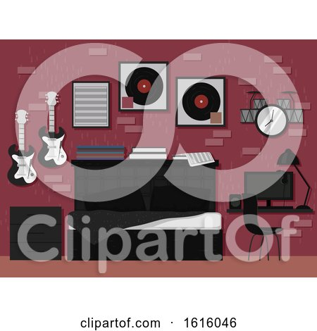 Music Lover Bedroom Interior Illustration by BNP Design Studio