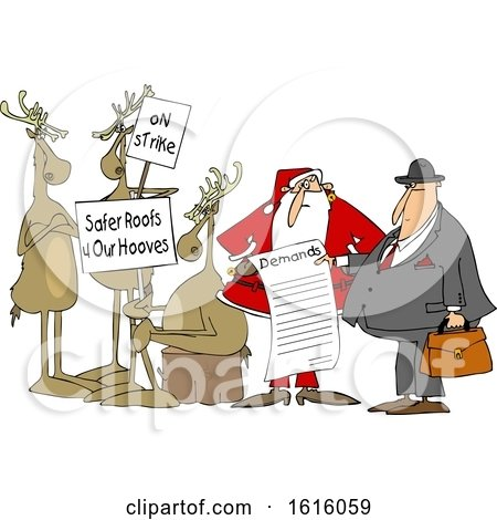 Clipart of a Group of Christmas Reindeer on Strike and Santa Talking to an Attorney About the List of Demands - Royalty Free Vector Illustration by djart