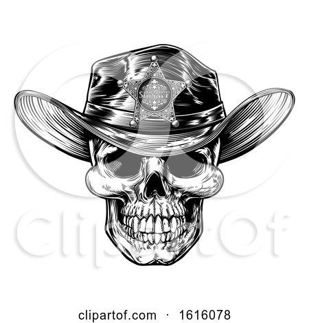 Vintage Style Skull Sheriff by AtStockIllustration
