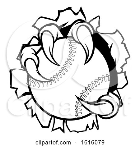 Baseball Ball Eagle Claw Talons Tearing Background by AtStockIllustration