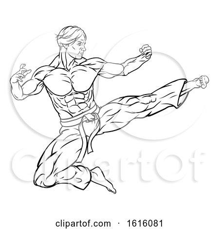 Flying Kick Karate or Kung Fu Man by AtStockIllustration
