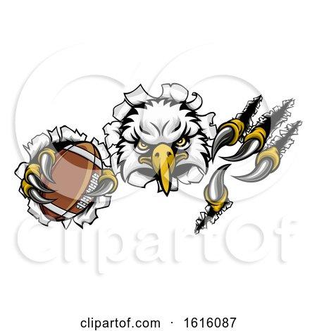 Eagle Football Cartoon Mascot Tearing Background by AtStockIllustration