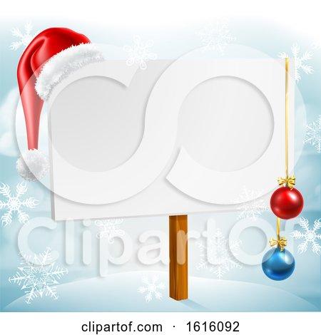 Christmas Sign Santa Hat Baubles Winter Snow Scene by AtStockIllustration