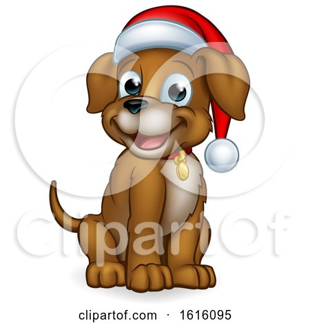 Pet Dog in Christmas Santa Claus Hat by AtStockIllustration