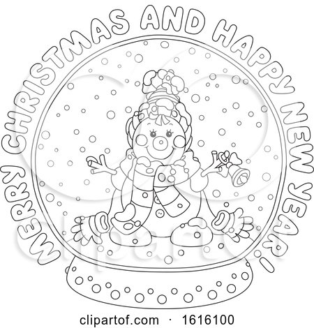 clipart of a lineart merry christmas and happy new year greeting with a snowman in a snow globe royalty free vector illustration by alex bannykh