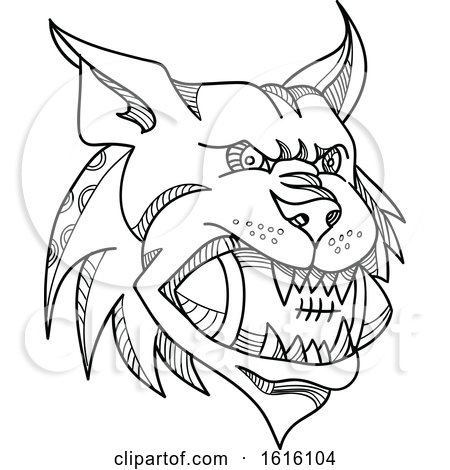 Clipart Of A Mono Line Head Of A Canada Lynx Bobcat Biting An
