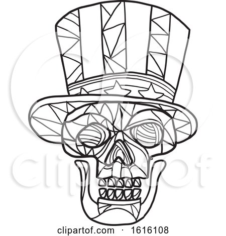 Clipart of a Black and White Mosaic Low Polygon Skull Uncle Sam - Royalty Free Vector Illustration by patrimonio