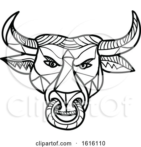 Clipart of a Black and White Mosaic Low Polygon Texas Longhorn Bull with Nose Ring - Royalty Free Vector Illustration by patrimonio