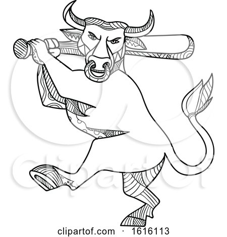 Clipart of a Mono Line Texas Longhorn Bull Batting - Royalty Free Vector Illustration by patrimonio
