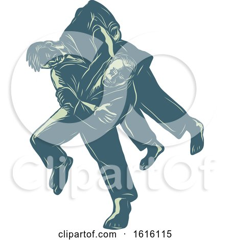 Clipart of a Scratchboard Style Judoka Throwing an Opponent in Judo Combat - Royalty Free Vector Illustration by patrimonio