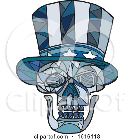 Clipart of a Mosaic Low Polygon Skull Uncle Sam - Royalty Free Vector Illustration by patrimonio