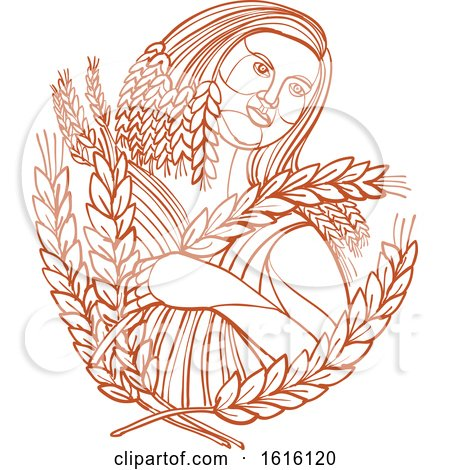 Clipart of a Mono Line Style of Demeter the Goddess of the Harvest and Presides over Grains and the Fertility of the Earth - Royalty Free Vector Illustration by patrimonio