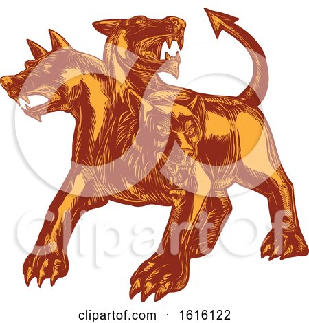 Clipart of a Scratchboard Style Cerberus or Hound of Hades - Royalty Free Vector Illustration by patrimonio