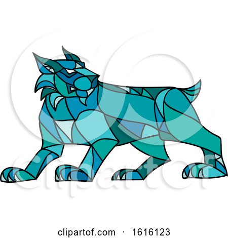 Clipart of a Mosaic Low Polygon Style Bobcat Lynx - Royalty Free Vector Illustration by patrimonio