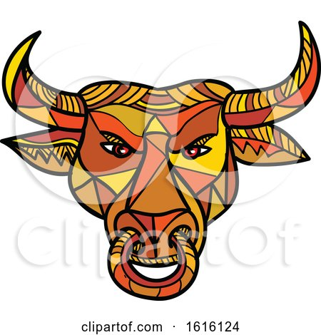 Clipart of a Mosaic Low Polygon Texas Longhorn Bull with Nose Ring - Royalty Free Vector Illustration by patrimonio