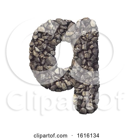 Gravel Letter Q - Lower-case 3d Crushed Rock Font - Nature, Envi, on a white background by chrisroll