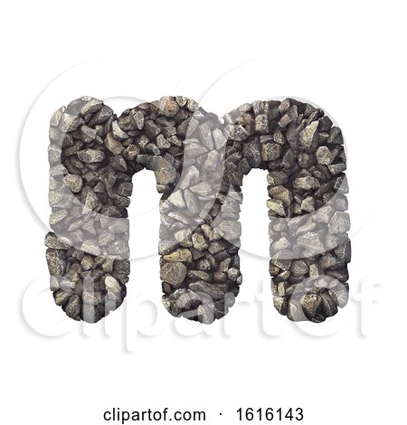 Gravel Letter M - Lowercase 3d Crushed Rock Font - Nature, Envir, on a white background by chrisroll