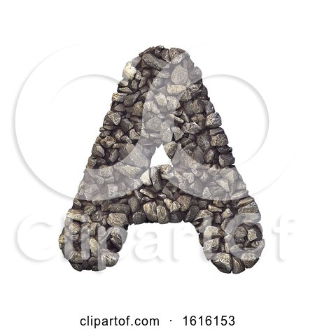 Gravel Letter a - Capital 3d Crushed Rock Font - Nature, Environ, on a white background by chrisroll