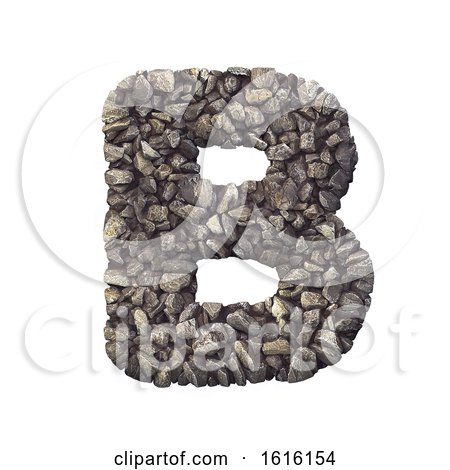Gravel Letter B - Capital 3d Crushed Rock Font - Nature, Environ, on a white background by chrisroll
