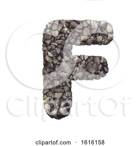 Gravel Letter F - Upper-case 3d Crushed Rock Font - Nature, Envi, on a white background by chrisroll