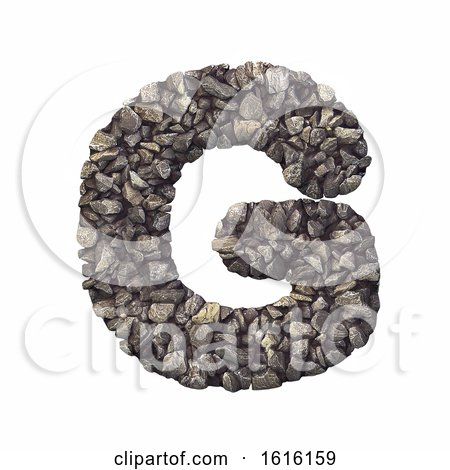 Gravel Letter G - Upper-case 3d Crushed Rock Font - Nature, Envi, on a white background by chrisroll