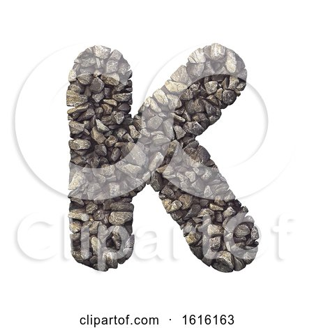 Gravel Letter K - Uppercase 3d Crushed Rock Font - Nature, Envir, on a white background by chrisroll
