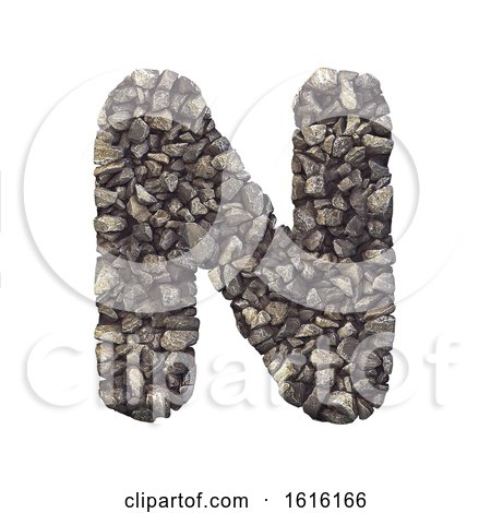 Gravel Letter N - Capital 3d Crushed Rock Font - Nature, Environ, on a white background by chrisroll