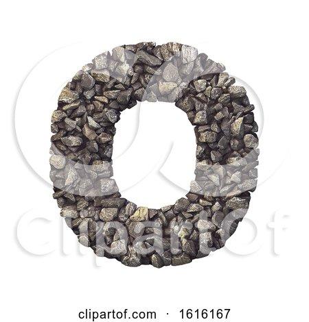 Gravel Letter O - Upper-case 3d Crushed Rock Font - Nature, Envi, on a white background by chrisroll