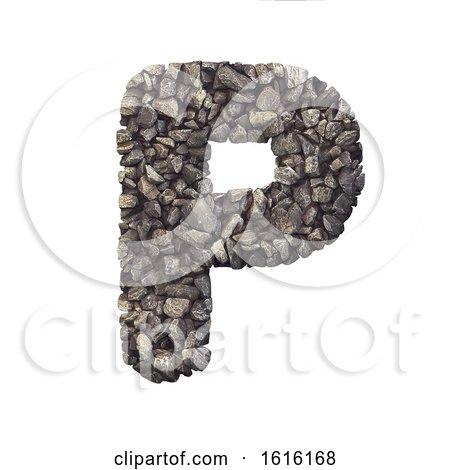 Gravel Letter P - Upper-case 3d Crushed Rock Font - Nature, Envi, on a white background by chrisroll