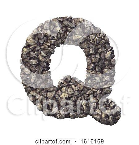 Gravel Letter Q - Upper-case 3d Crushed Rock Font - Nature, Envi, on a white background by chrisroll