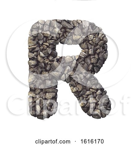 Gravel Letter R - Uppercase 3d Crushed Rock Font - Nature, Envir, on a white background by chrisroll
