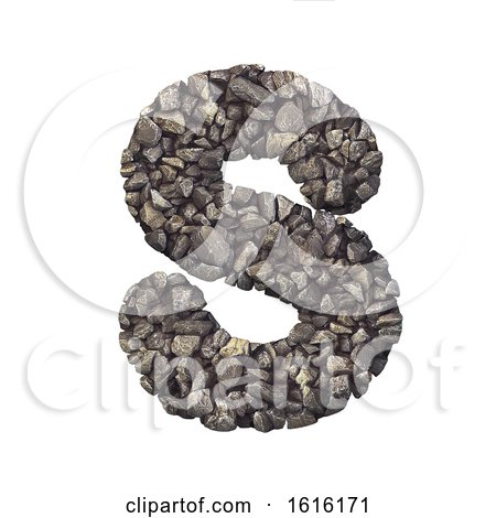 Gravel Letter S - Uppercase 3d Crushed Rock Font - Nature, Envir, on a white background by chrisroll