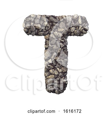 Gravel Letter T - Uppercase 3d Crushed Rock Font - Nature, Envir, on a white background by chrisroll