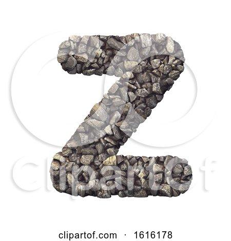 Gravel Letter Z - Upper-case 3d Crushed Rock Font - Nature, Envi, on a white background by chrisroll