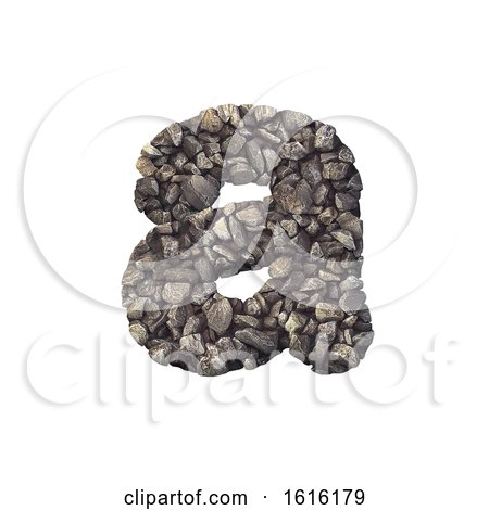 Gravel Letter a - Lowercase 3d Crushed Rock Font - Nature, Envir, on a white background by chrisroll