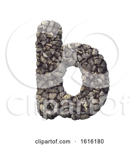 Gravel Letter B - Lower-case 3d Crushed Rock Font - Nature, Envi, on a white background by chrisroll