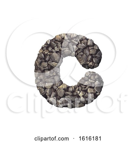Gravel Letter C - Small 3d Crushed Rock Font - Nature, Environme, on a white background by chrisroll