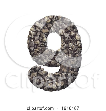 Gravel Number 9 - 3d Crushed Rock Digit - Nature, Environment,, on a white background by chrisroll