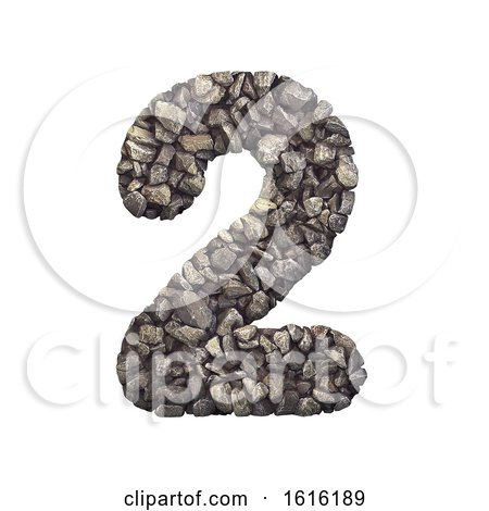Gravel Number 2 - 3d Crushed Rock Digit - Nature, Environment,, on a white background by chrisroll