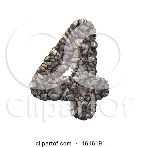 Gravel Number 4 - 3d Crushed Rock Digit - Nature, Environment,, on a white background by chrisroll